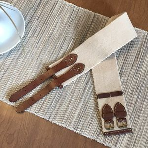 J. CREW Double Buckle Leather Trim Belt